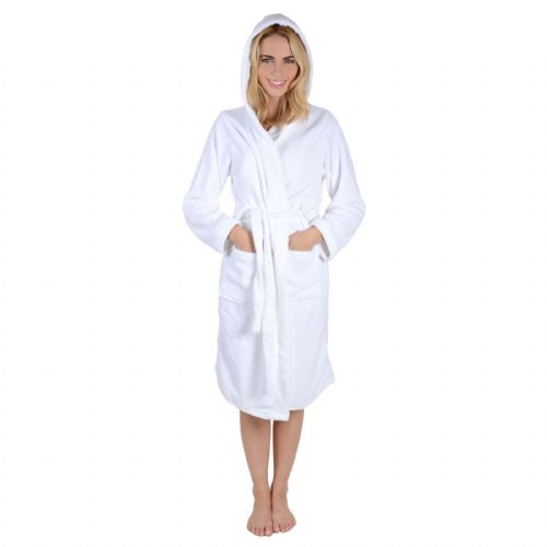LADIES WHITE COLOUR LUXURY SOFT FLEECE MICROFIBRE HOODED BATHROBE DRESSING GOWN